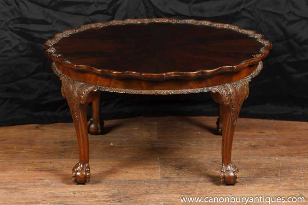 Antique Mahogany Chippendale Coffee Table Hand Carved Tables