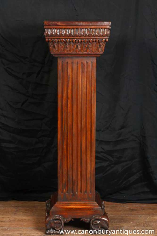 Antique Regency Pedestal Column Stand Table Rams Head Feet