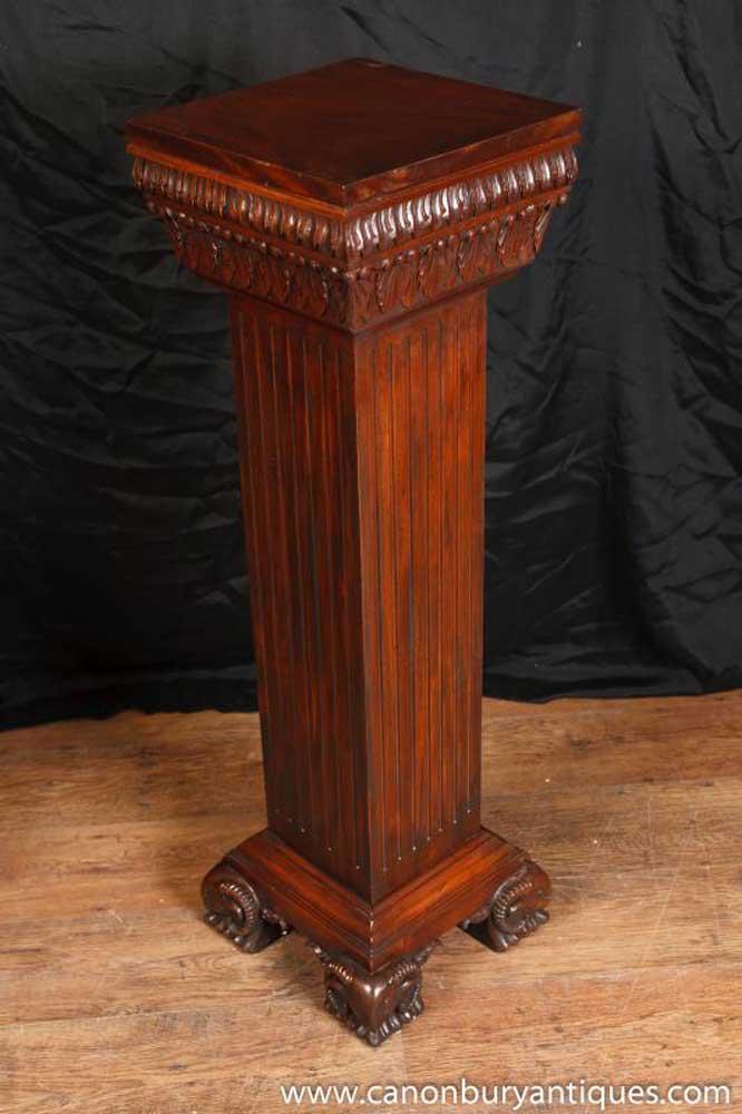 Antique Regency Pedestal Column Stand Table Rams Head Feet