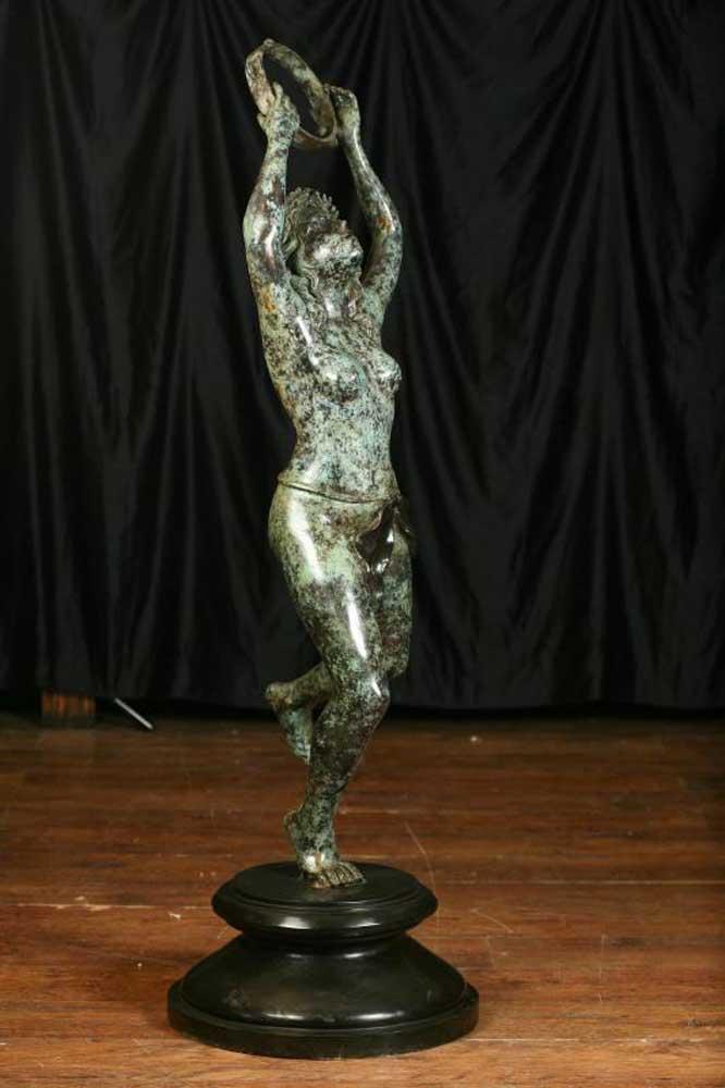 Architectural Bronze Female Nude Bacchus Statue Tambourine Girl-6882