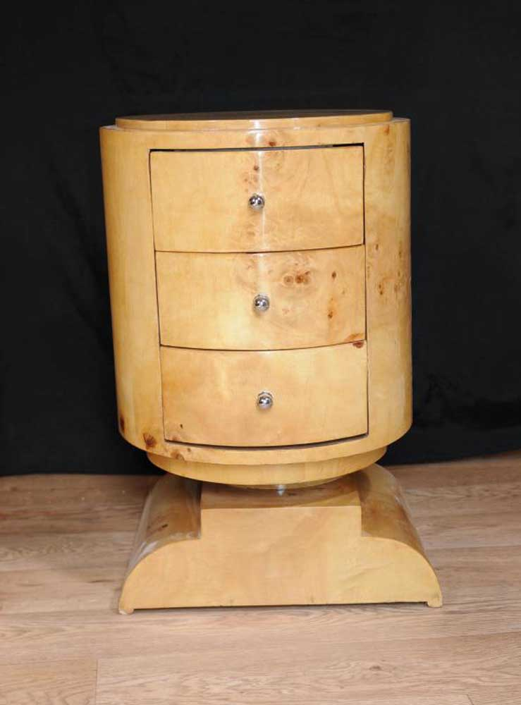 Art Deco Bedside Chest Drawers Side Table Nightstand
