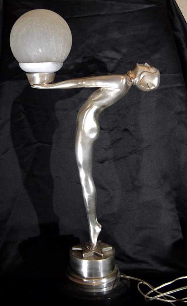Art Deco Biba Clarte Girl Bronze Lamp Figurine