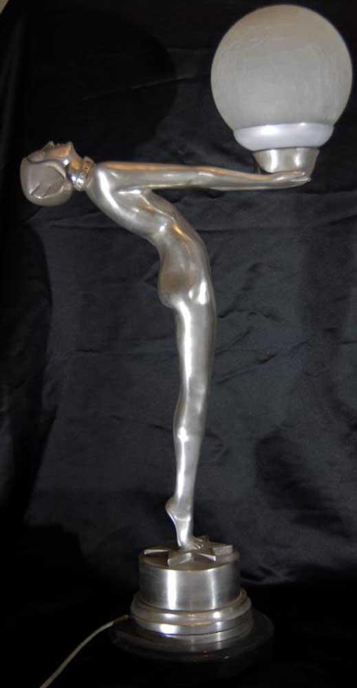 Art Deco Bronze Biba Figurine Lamp Light Statue | Ebay