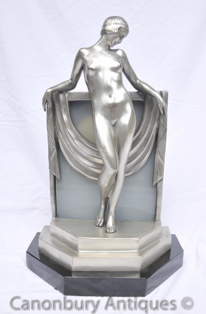 Art Deco Bronze Figurine Lamp Light Statue 1920s Figurine