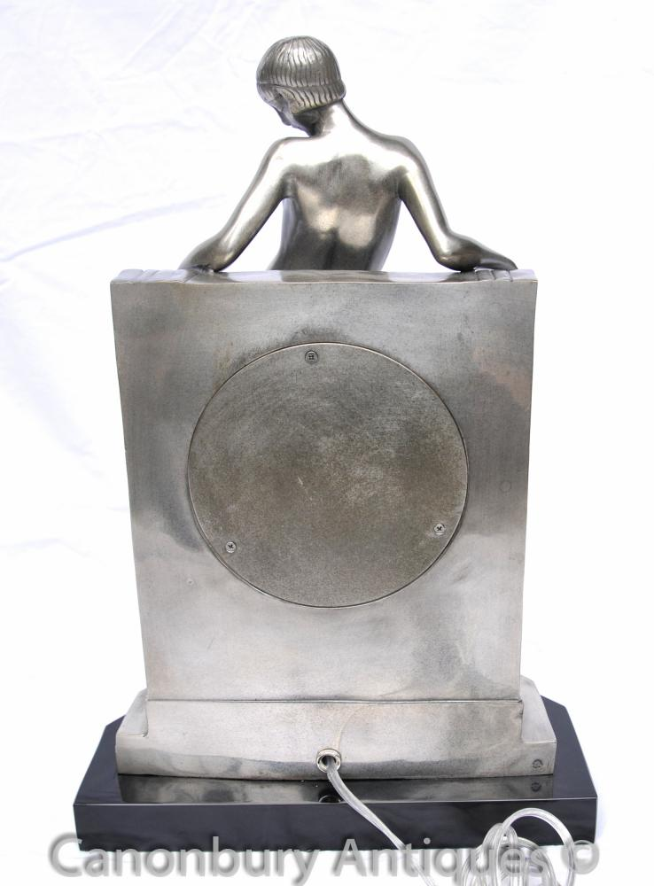 Joe For Oil >> Art Deco Bronze Figurine Lamp Light Statue 1920s