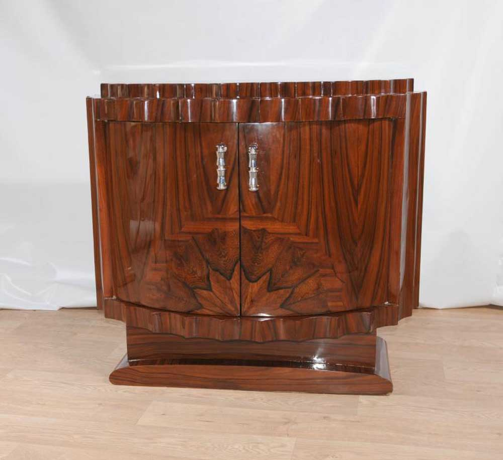 Art deco cabinet commode chest crinkle inlay 1920s design for Commode miroir art deco