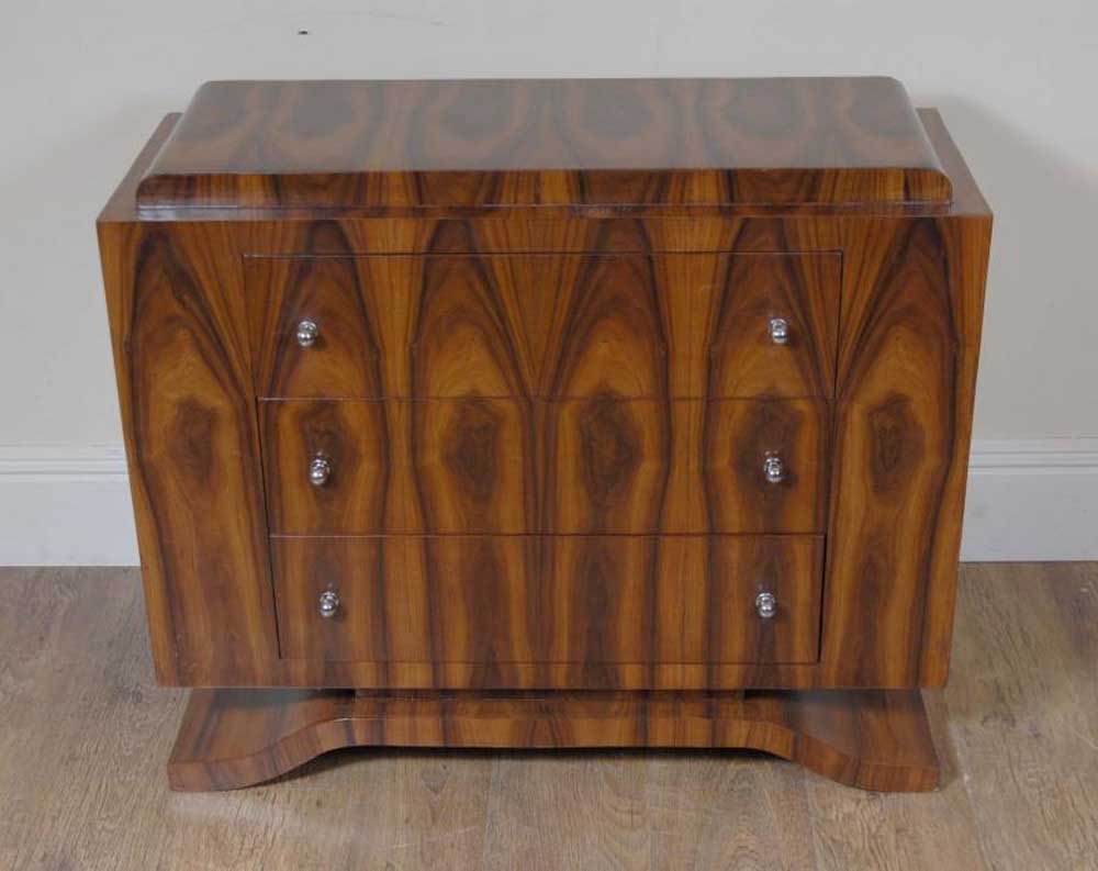 Art deco chest drawers commode cabinet rosewood for Commode miroir art deco