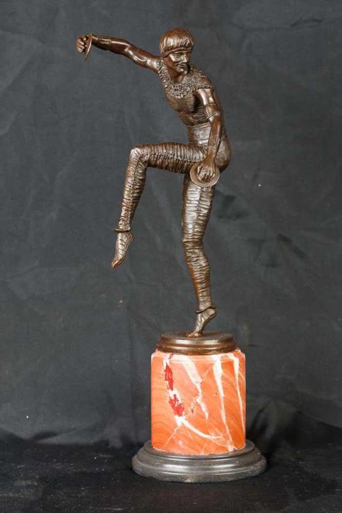Art Deco Chiparus Bronze Statue Harlequin Figurine Cymbal