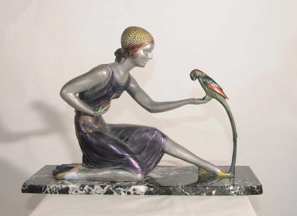 art deco chiparus parrot girl resin bronze figurine statue. Black Bedroom Furniture Sets. Home Design Ideas