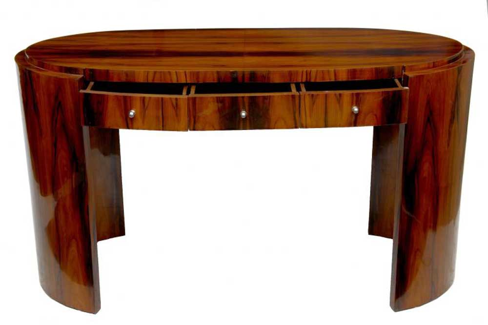 Art deco desk rosewood writing table bureau office furniture for Art deco writing