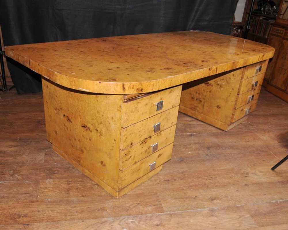 art deco desk writing table blonde walnut bureau plat. Black Bedroom Furniture Sets. Home Design Ideas
