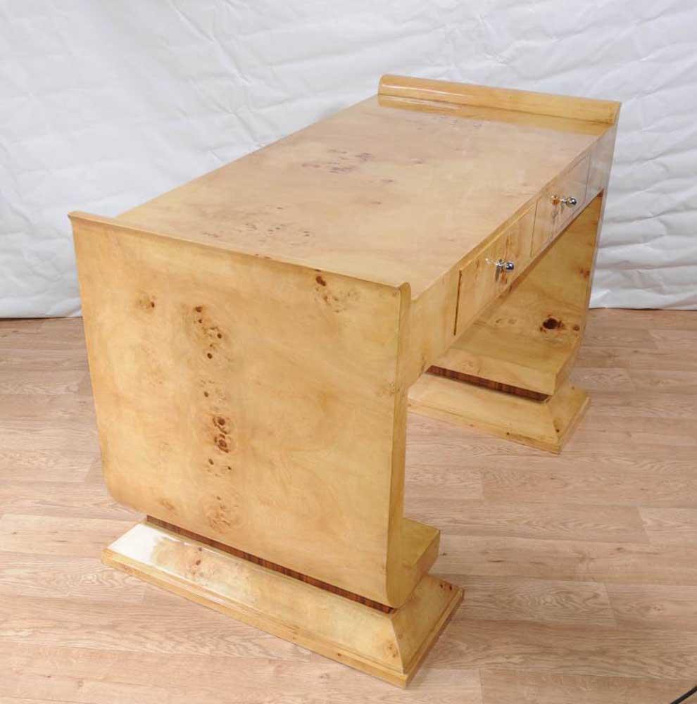 art deco desk writing table bureau vintage blonde walnut. Black Bedroom Furniture Sets. Home Design Ideas
