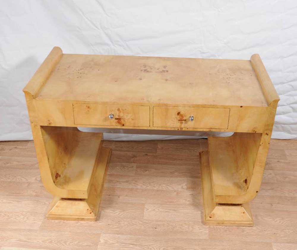 art deco desk writing table bureau vintage blonde walnut furniture. Black Bedroom Furniture Sets. Home Design Ideas