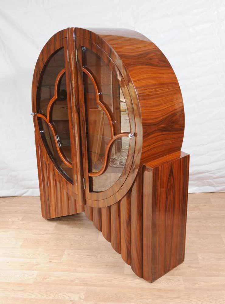 Art Deco Display Cabinet Bookcase Rosewood Vintage