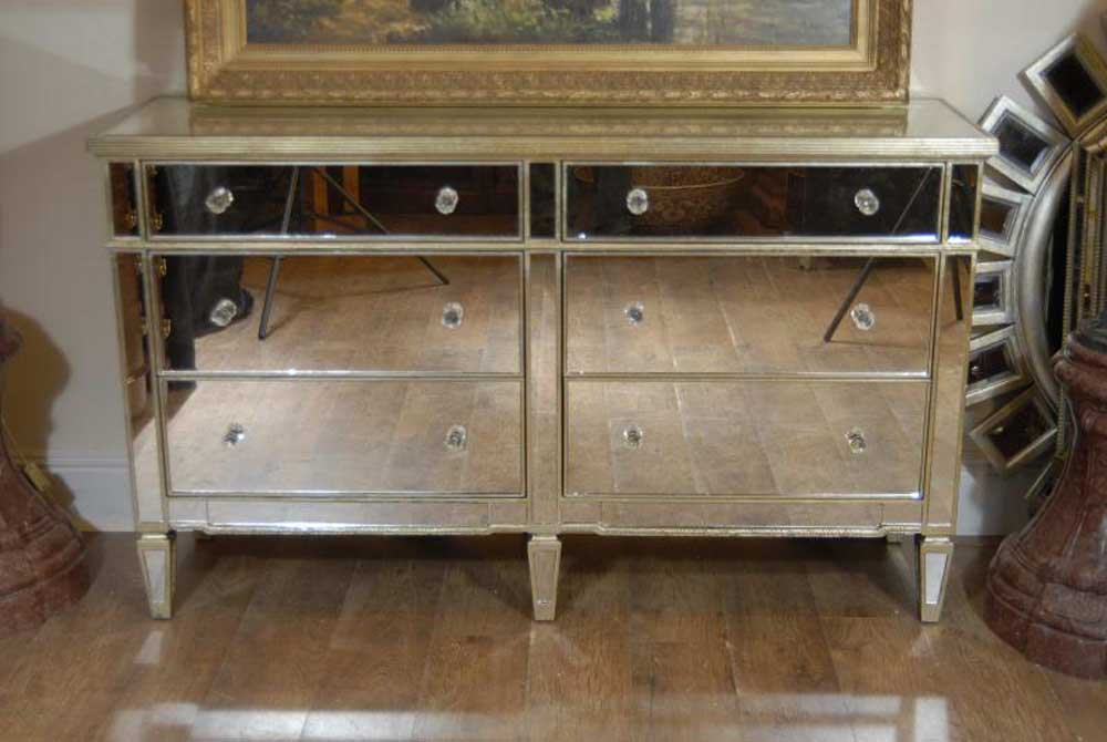Art Deco Double Mirrored Chest Drawers Commode