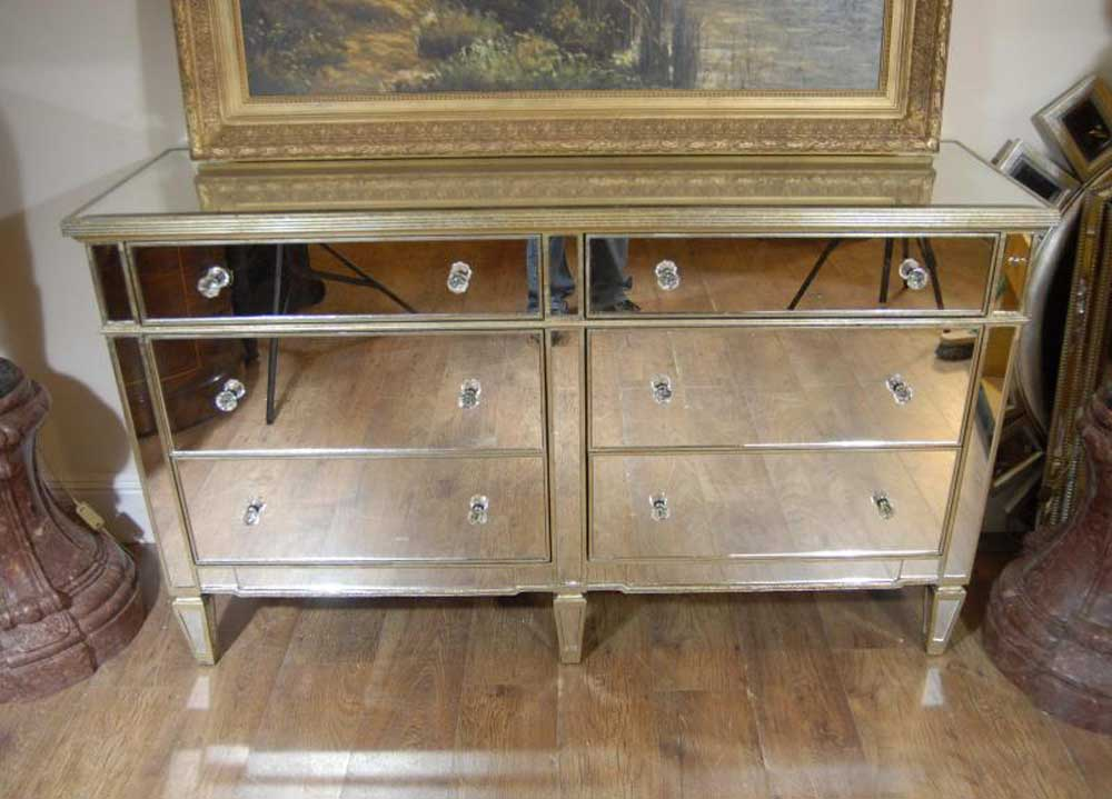 Art deco double mirrored chest drawers commode for Commode miroir art deco