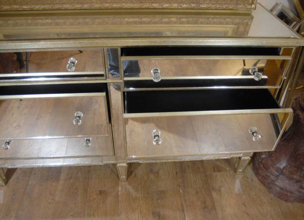 art deco double mirrored chest drawers commode. Black Bedroom Furniture Sets. Home Design Ideas