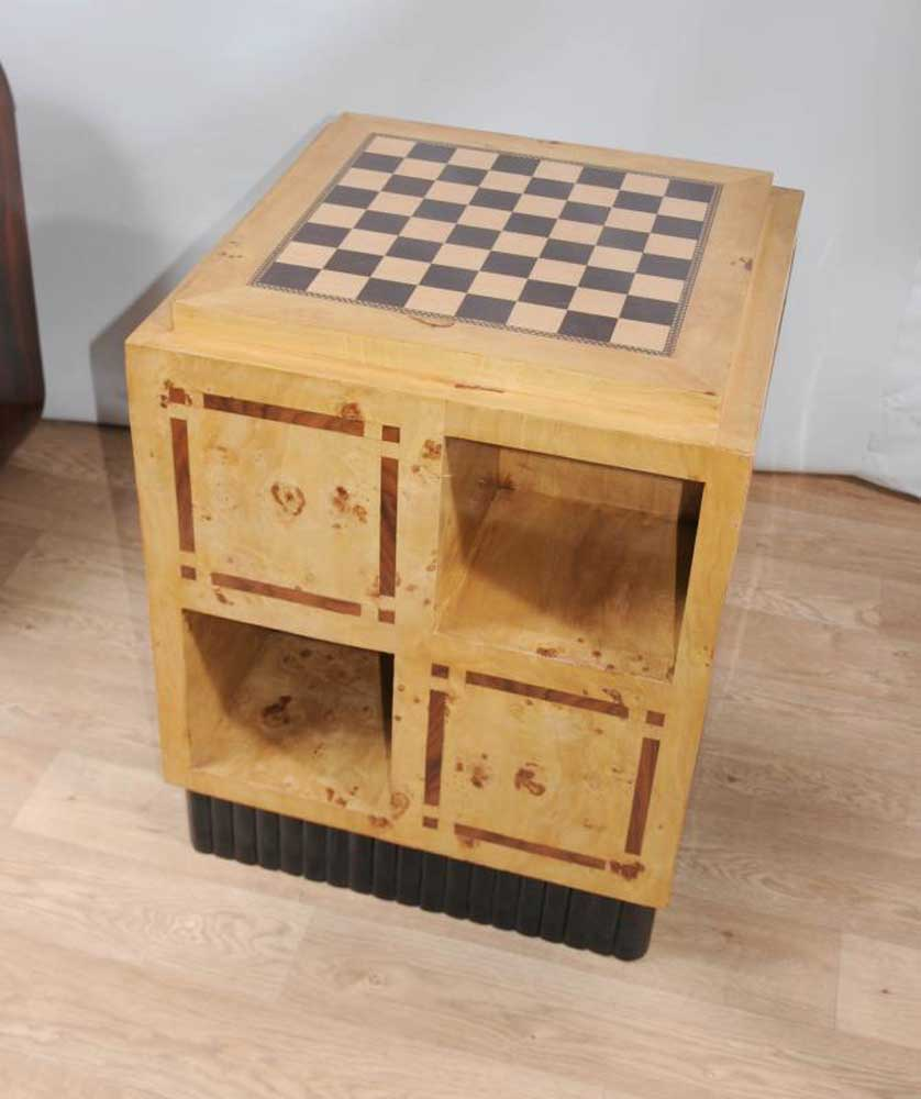 Art deco games table side coffee table chess board furniture for Side coffee table