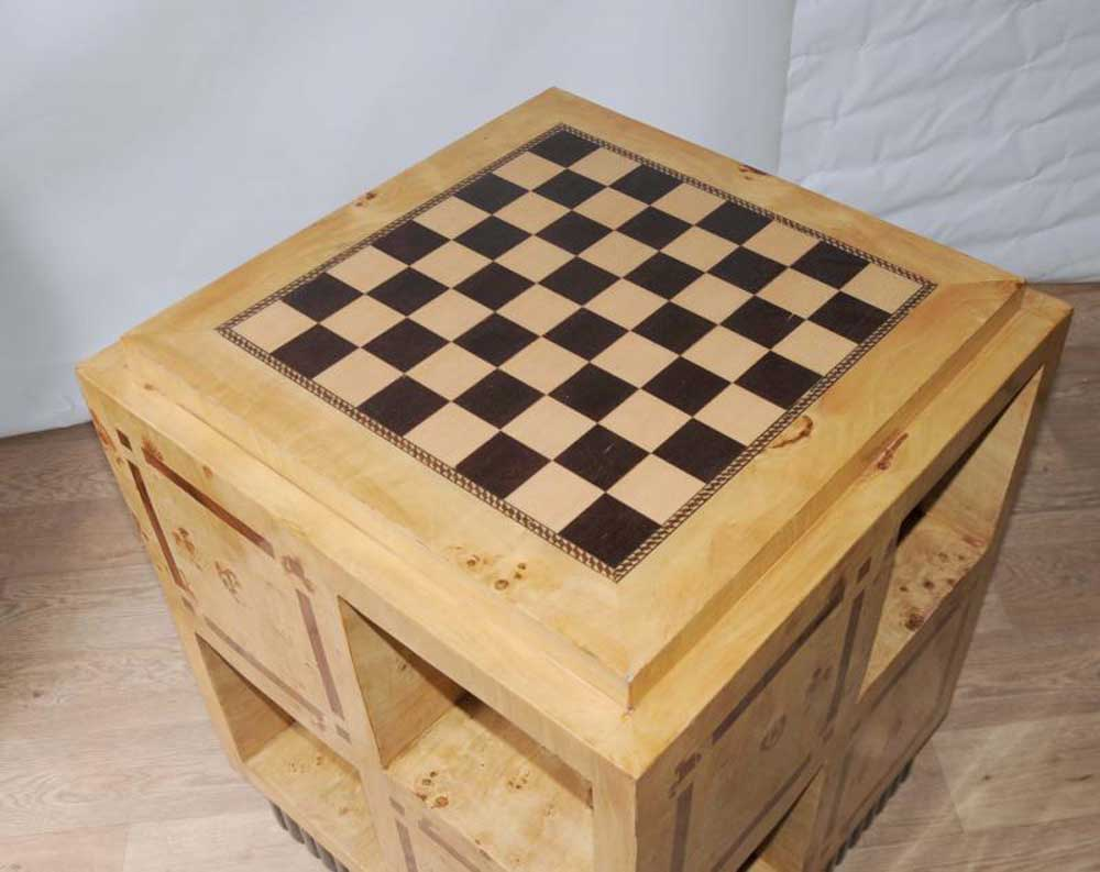 Art Deco Games Table Side Coffee Table Chess Board Furniture