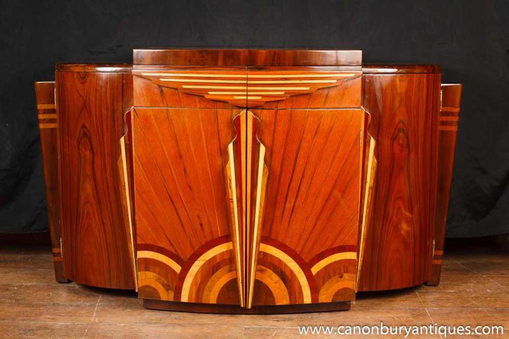 art deco inlaid commode sideboard cabinet furniture modernist. Black Bedroom Furniture Sets. Home Design Ideas
