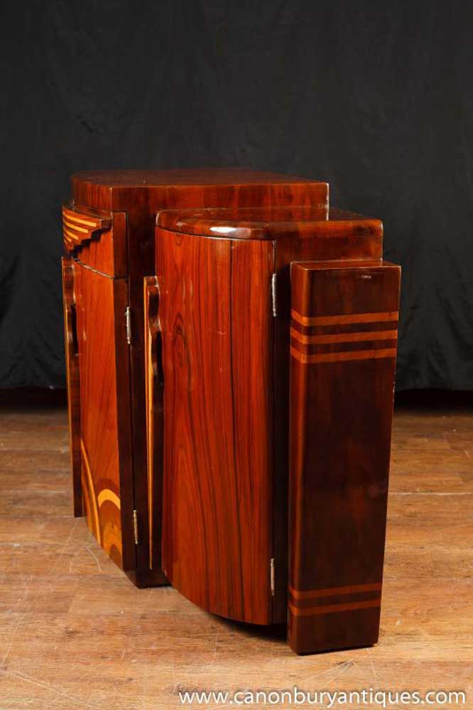 Art deco inlaid commode sideboard cabinet furniture modernist for Commode miroir art deco