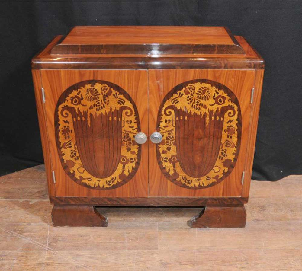 Art Deco Inlay Chest Cabinet Cupboard 1920s Furniture