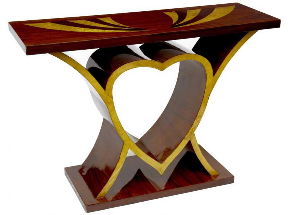 Art Deco Inlay Heart Console Table Vintage Interiors Furniture