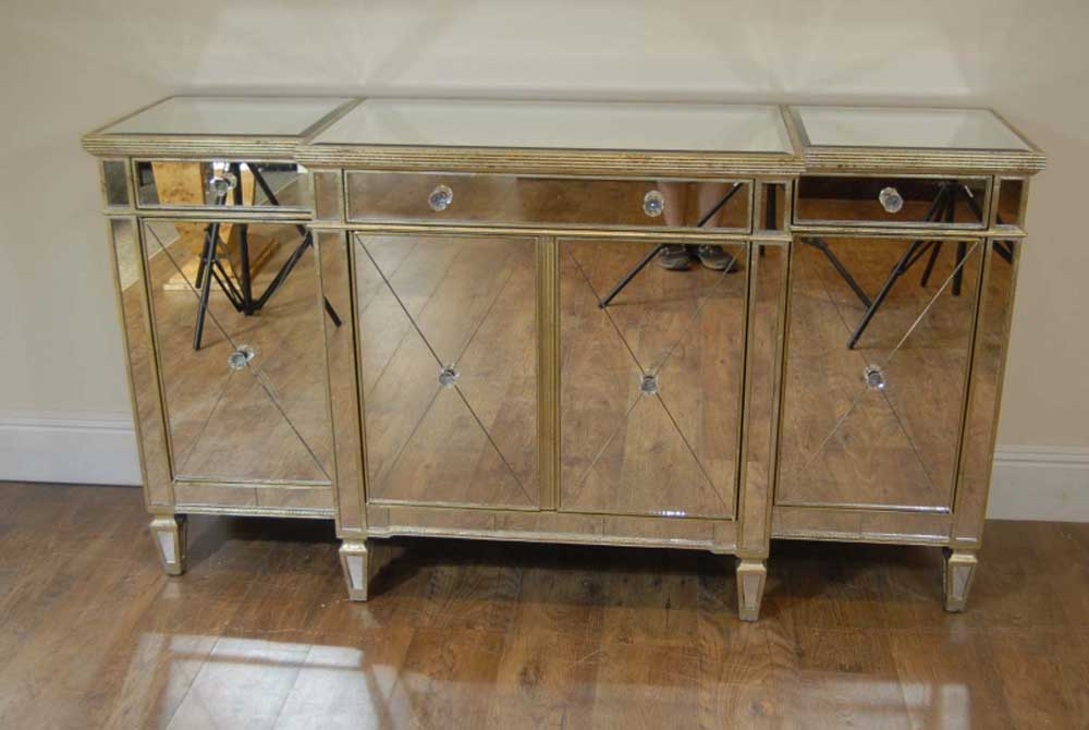 art deco mirrored breakfront sideboard chest credenza. Black Bedroom Furniture Sets. Home Design Ideas