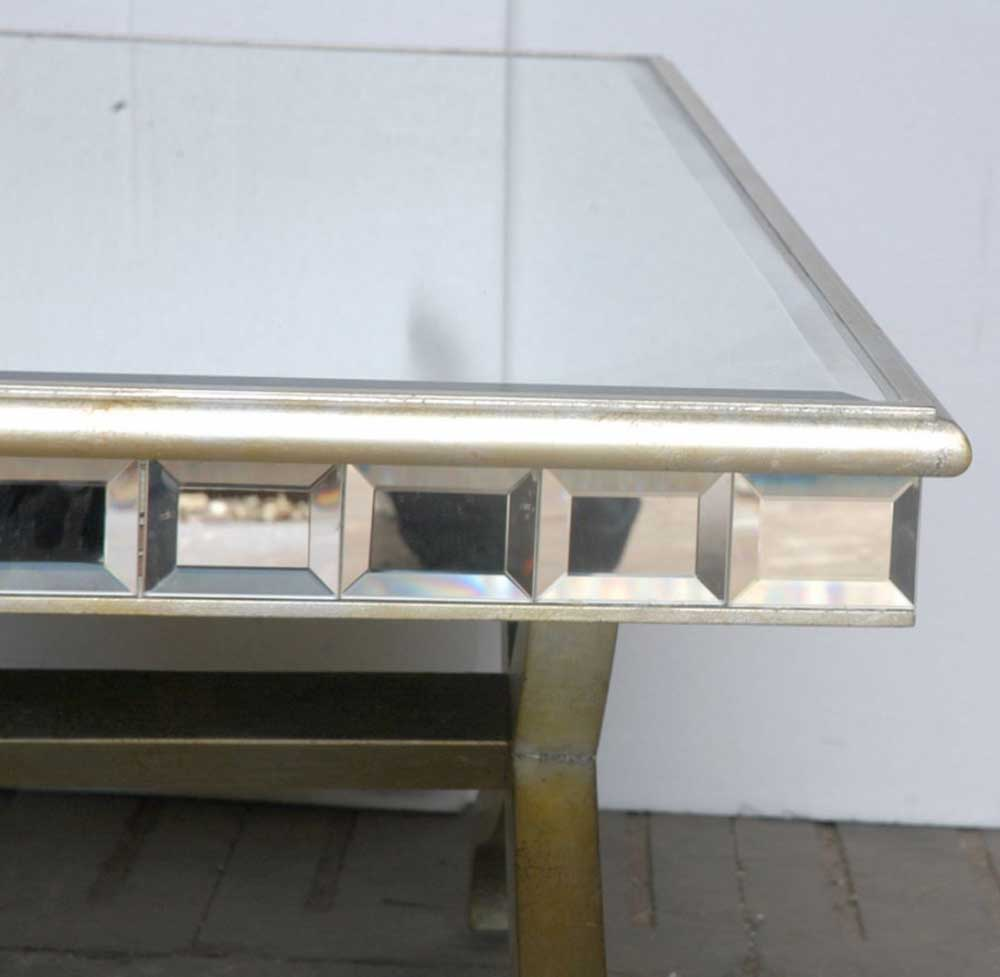 Art Deco Mirrored Coffee Side Table Glass Mirror Tables