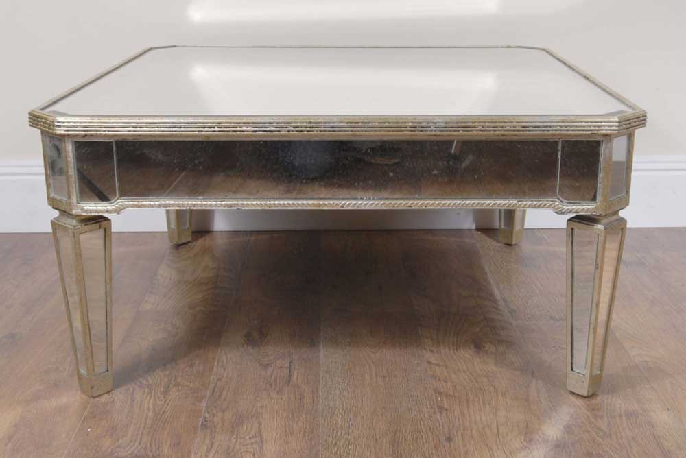 Art Deco Mirrored Coffee Table Mirror Borghese Furniture Cocktail Tables Ebay