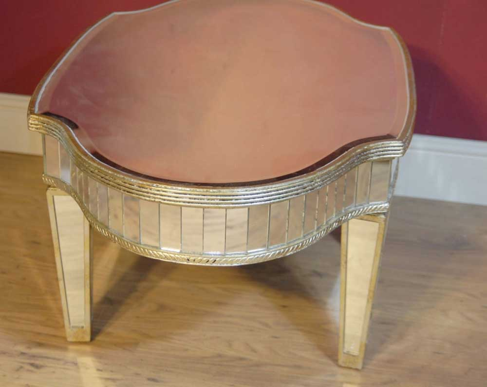 Art deco mirrored coffee table tables glass mirror for Mirror table