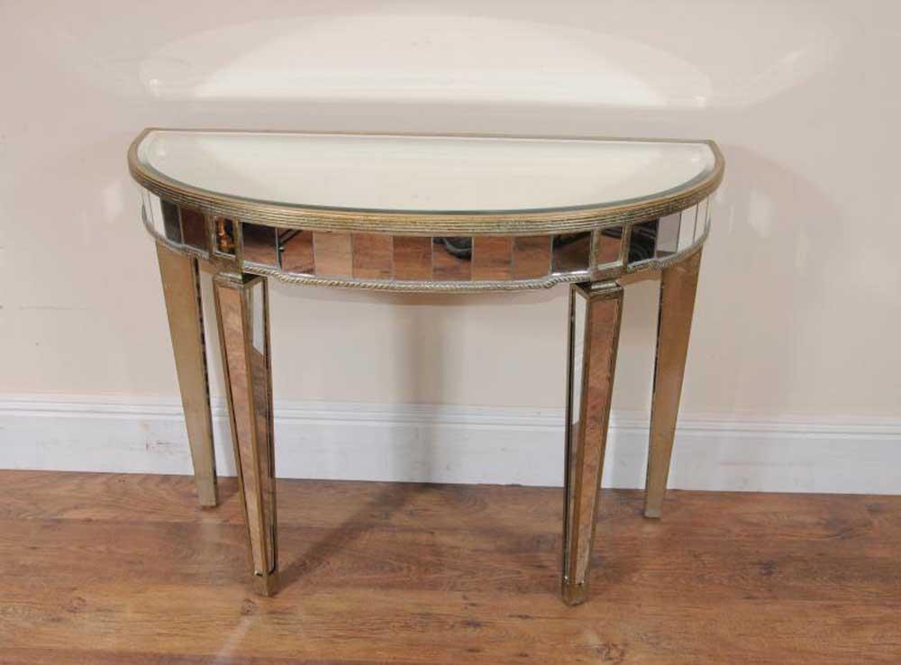 Art deco mirrored console table demi lune tables for Table cuisine demi lune