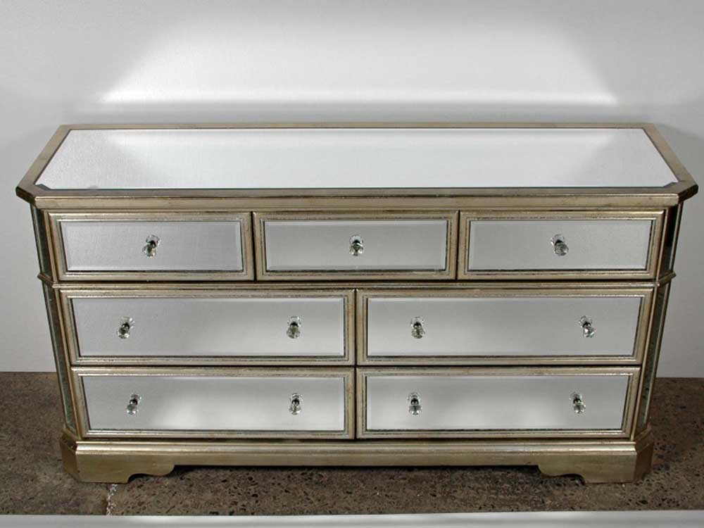 art deco mirrored double commode chest drawers. Black Bedroom Furniture Sets. Home Design Ideas