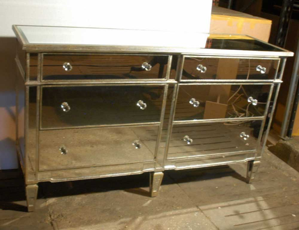 Art Deco Mirrored Double Commode Chest Drawers