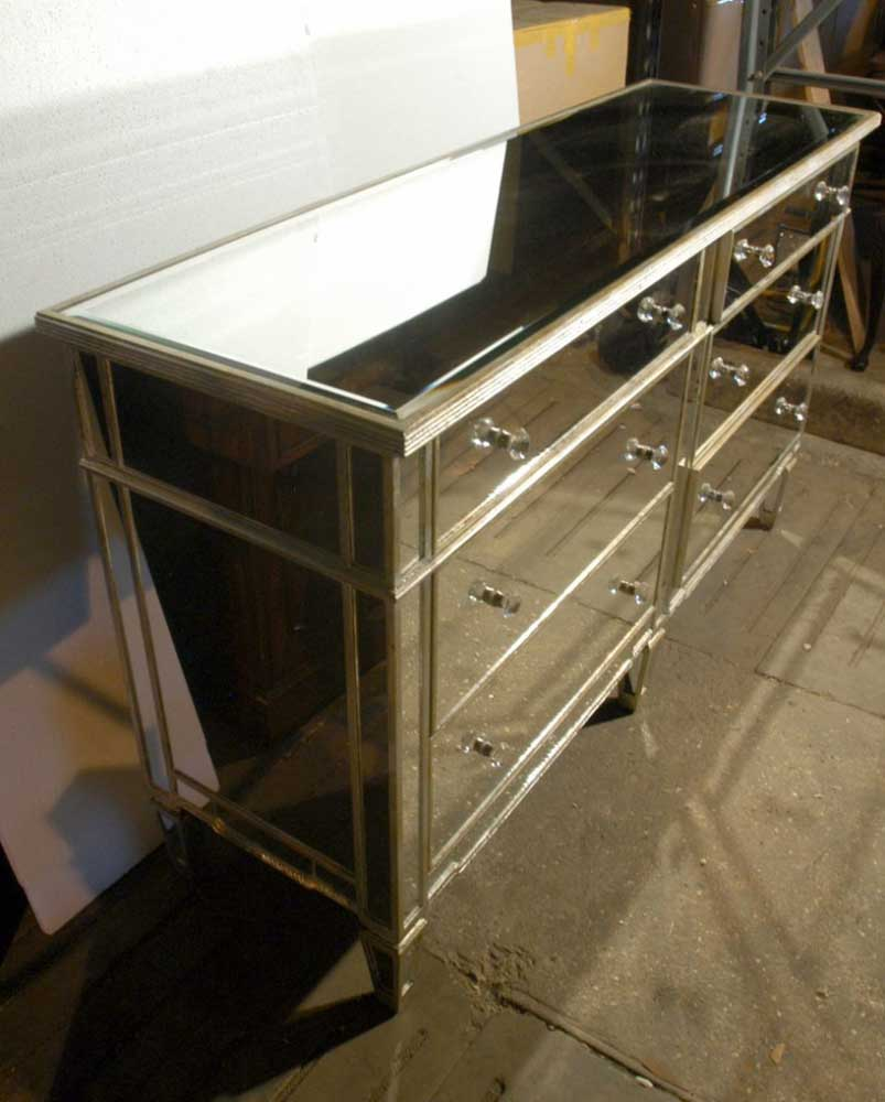 Art deco mirrored double commode chest drawers for Commode miroir art deco