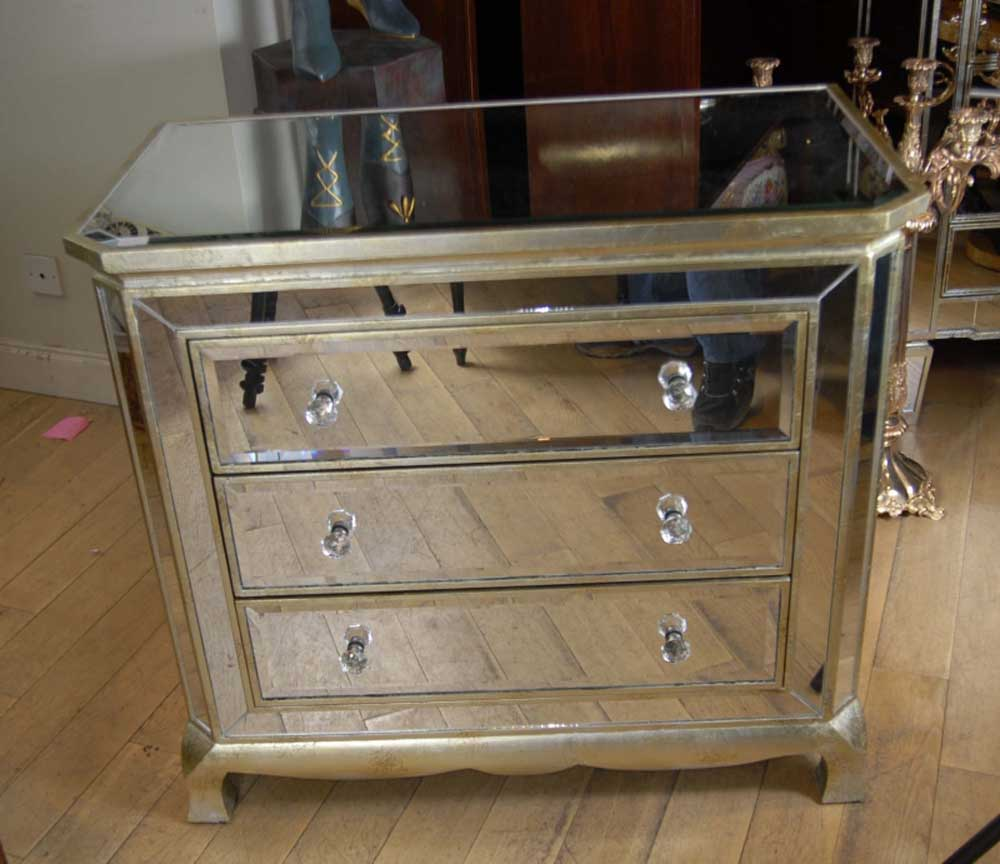 Art deco mirrored italian chest drawers commode cabinet for Commode miroir art deco
