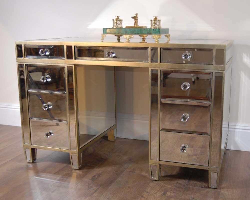 Art Deco Mirrored Pedestal Desk Writing Table