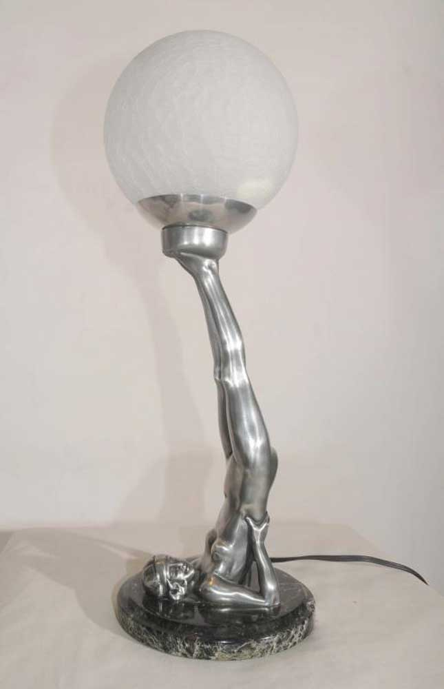 Art Deco Pewter Figurine Lamp Semi Naked Statue Yoga Girl