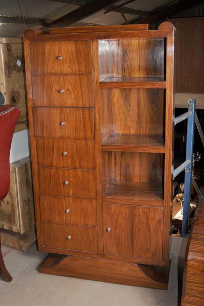 Art Deco Rosewood Bookcase Shelf Unit Books