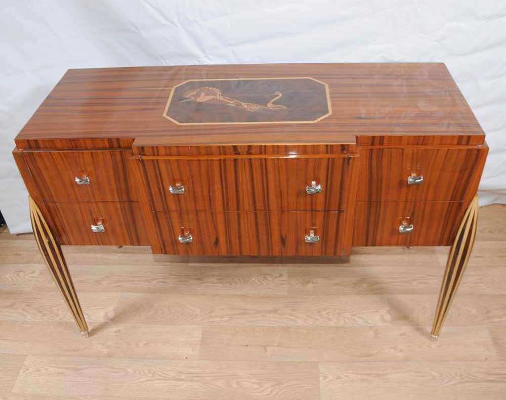 art deco sideboard buffet server chest drawers inlay furniture. Black Bedroom Furniture Sets. Home Design Ideas