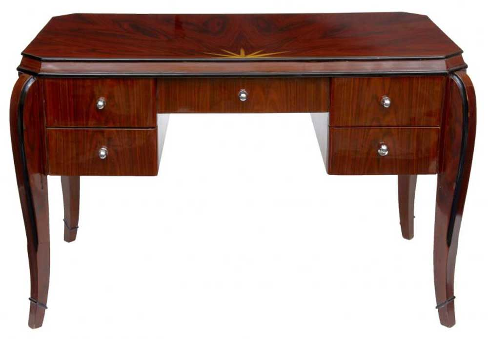 art deco vintage desk rosewood bureau plat dressing table. Black Bedroom Furniture Sets. Home Design Ideas