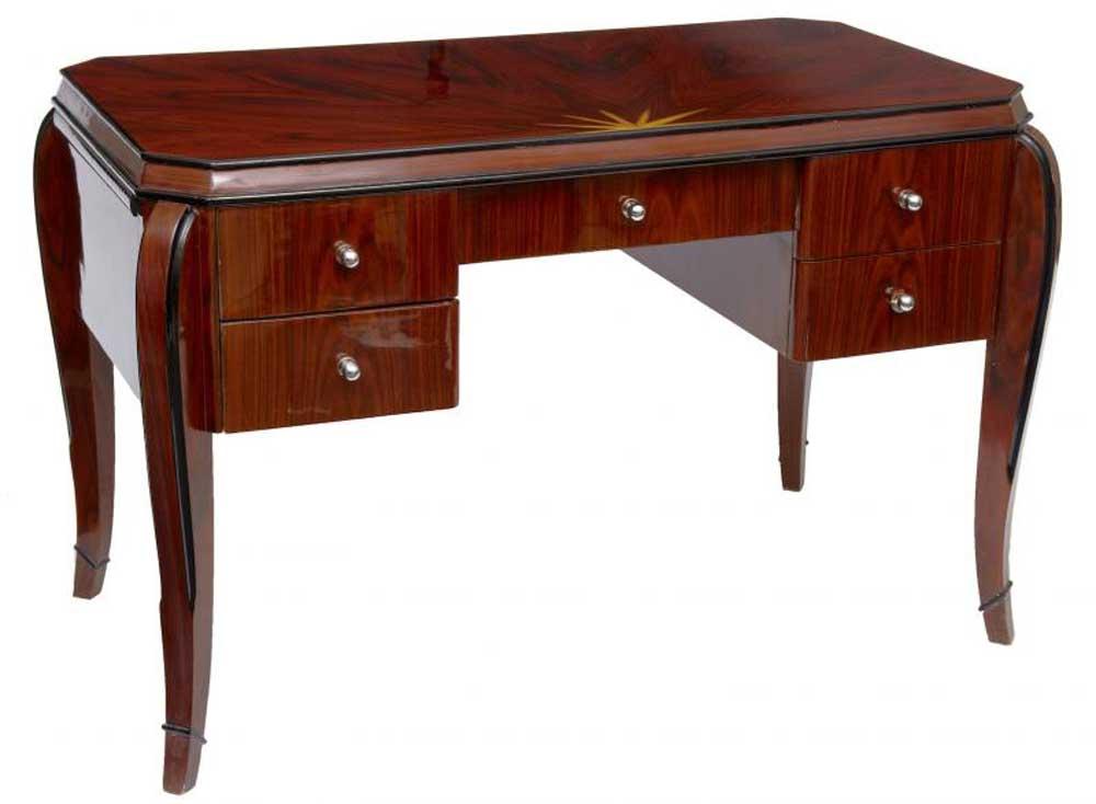 art deco vintage desk rosewood bureau plat dressing table inlay. Black Bedroom Furniture Sets. Home Design Ideas