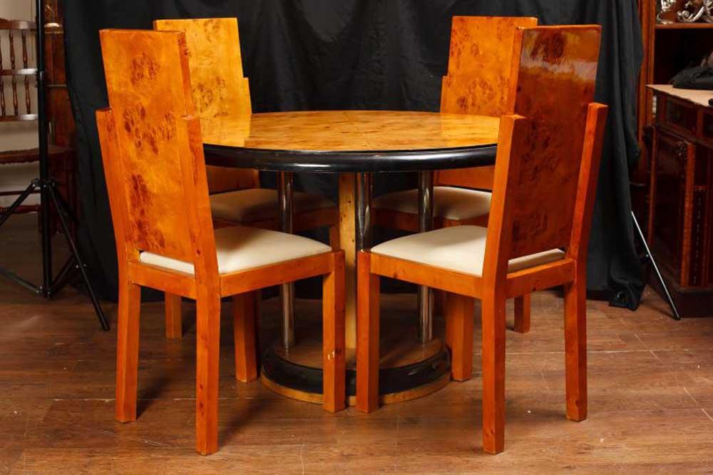 Art Deco Walnut Dining Table Chair Set Vintage Modernist