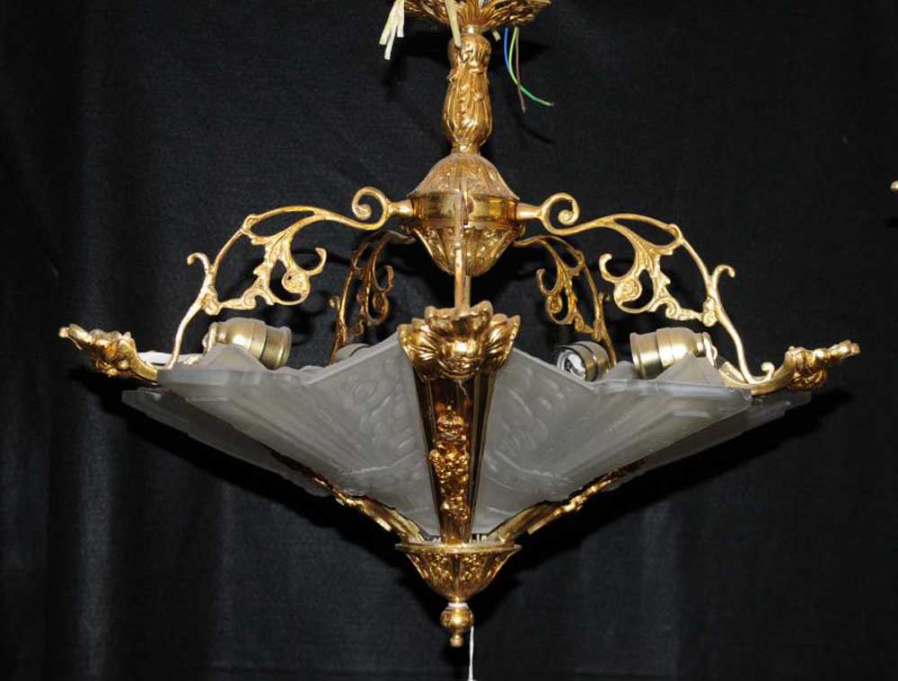 Art nouveau chandelier ormolu light lantern lamp french for Chandelier art nouveau