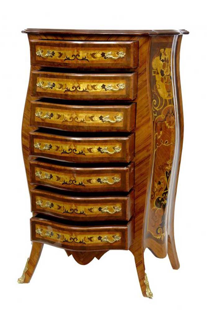 Bombe Shape Empire Chest Drawers Tall Boy Commode Furniture
