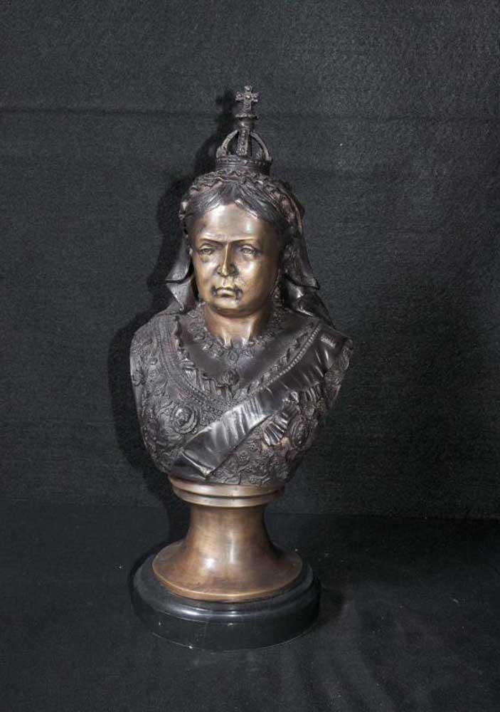 Bronze Bust Queen Victorian English Monarch Victoriana