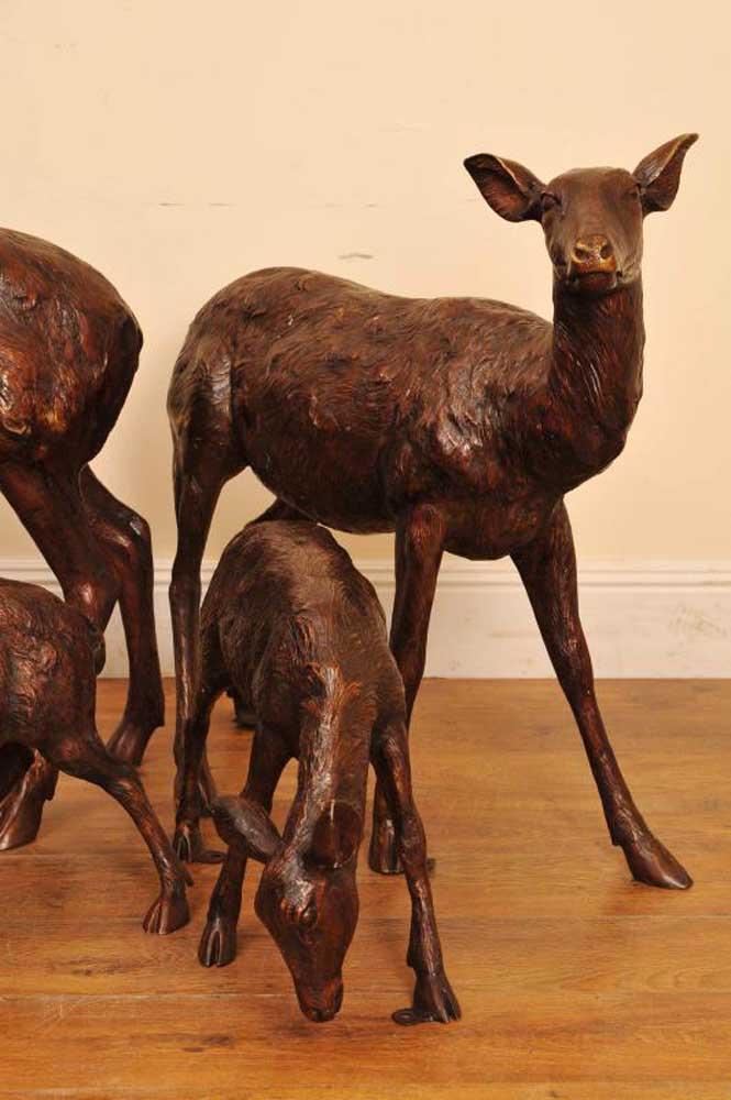 Bronze Deer Stag Family Doe Garden Statue Fawn