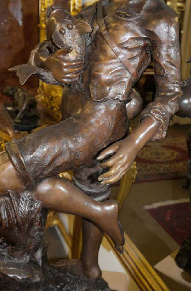 Bronze Fisher Boy Garden Statue Figure Art