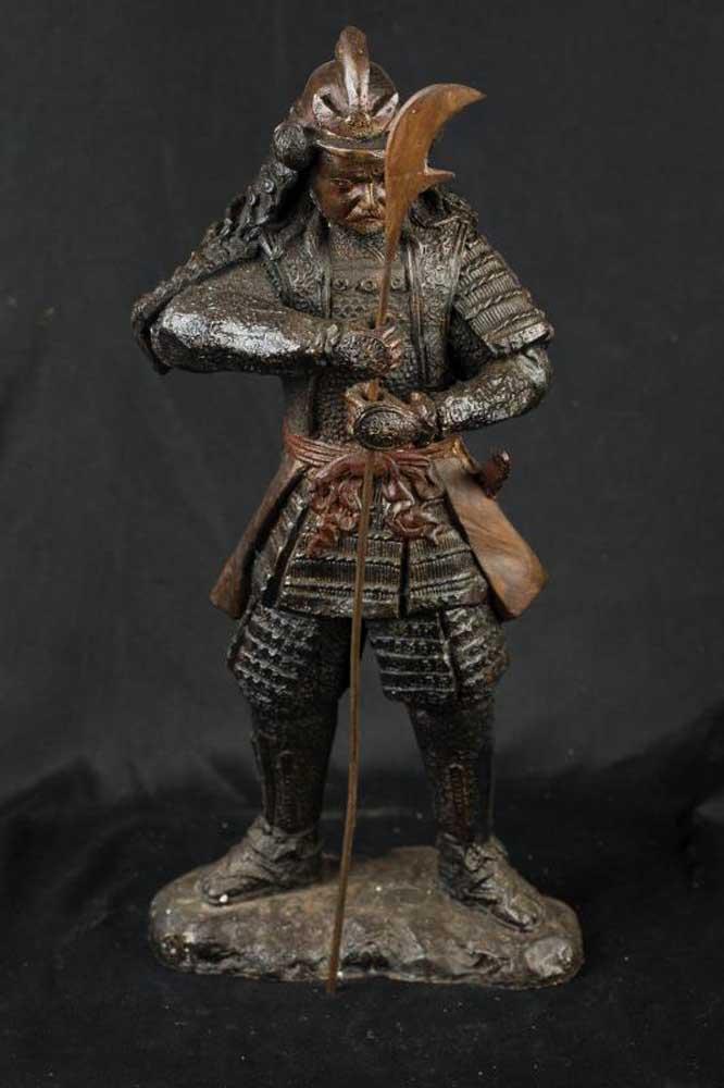 Bronze Japanese Samurai Warrior Soldier Figurine Casting