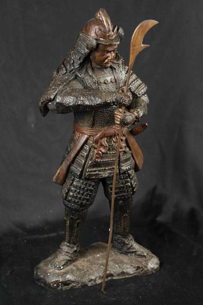 Bronze Japanese Samurai Warrior Soldier Figurine Casting